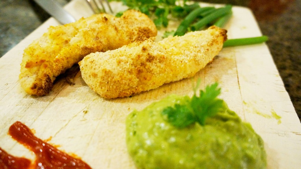These chicken tenders are a great compliment to the paleo diet, but also go very well with avocado-cilantro dipping sauce!