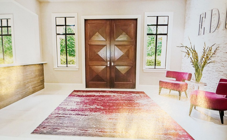 Okay ... so the door doesn't match the one from the front of the house, but that is just a minor detail! Nevertheless, please enter! The white I hope delivers a feeling of cleanness, while the vibrance of the fuschia chair and rug scream fun and shenanigans are welcome!